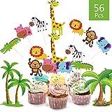 Cake Toppers Zoo/Dschungel-Themed Tier, 56 Stücke tortendeko Geburtstag für Kinder Junge Mädchen Baby Party Geburtstag Party Kuchen Dekoration