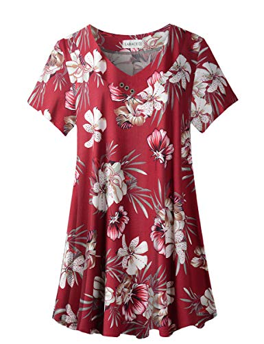 LARACE Damen Plus Size Tunika Tops Kurzarm V Ausschnitt Floral Blusen Basic Flowy Leopard Print T Shirts für Leggings, A-Weinrot 18,