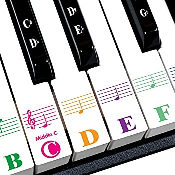 Piano Stickers for 88/61/54/49/37 Key Colorful Large Bold Letter Piano Keyboard Stickers Perfect for kids Learning Piano Multi-Color,Transparent,Removable