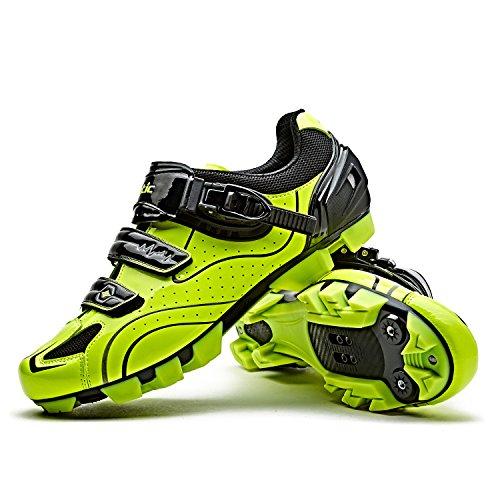 Santic Fahrradschuhe Herren MTB Schuhe Fahrrad Radschuhe MTB für Herren und Damen Grün EU 45