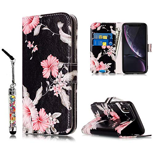 JanCalm Compatible with iPhone XR Case, Floral Pattern Premium PU Leather Wallet [Card/Cash Slots] Stand Flip Cover for iPhone XR + Crystal Pen (Black/Flower)