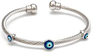 COLORFUL BLING Set Evil Eye Bangle Cuff Bracelet Wristband Adjustable Good Luck for Woman Men Jewelry Amulet Friendship Fa...