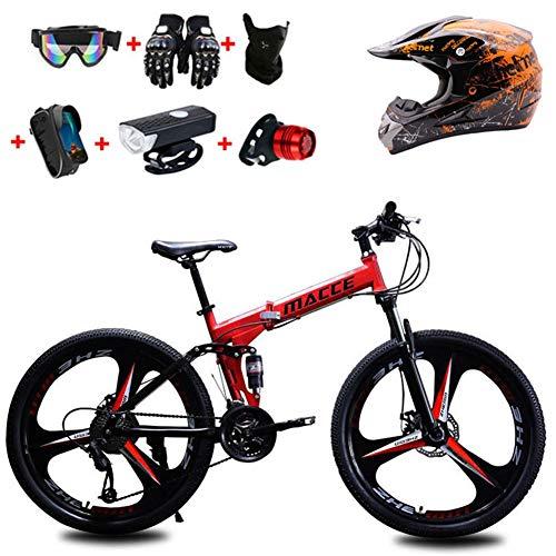 WHYTT Traje 21 Velocidades Bicicleta Plegable MTB Viajeros 26 Pulgadas MTB Bicicleta...