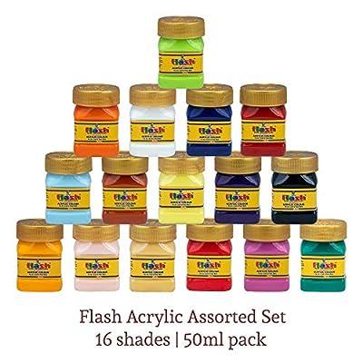 Flash Acrylic 16 Colours Set (16 Shades X 50ml Each) with Storage Box