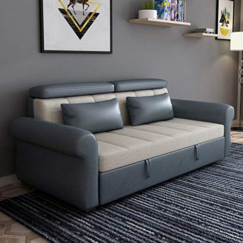 Home Equipment Sofa Couch Bed European Fabric Loveseat Sleeper Sofa Convertible Bed Pull Out Sectional Futon Couch Furniture Latex Padded Cushion Suitable for Apartment Living Room Balcony Light gr