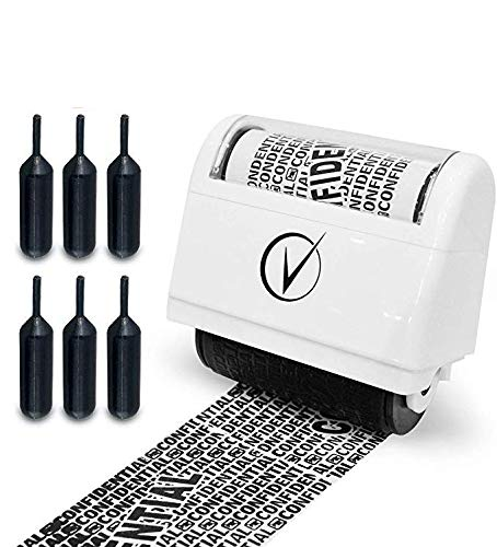 Identity Protection Roller Stamps Wide Kit, Including 6-Pack Refills - Designed for Secure Confidential ID Blackout Security, Anti Theft and Privacy Safety - Classy White