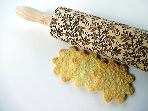 EMBOSSING ROLLING PIN FLORAL WREATH Wooden embossing dough roller with flowers FLORAL PATTERN