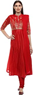 Haute Curry by Shoppers Stop Womens Banded Collar Printed Churidar Suit_Red
