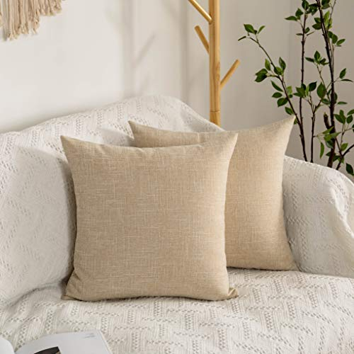 Kevin Textile Set of 2 Decorative Pillows Covers for Couch Star Faux Linen Sofa Pillows Cover 26 x 26 inch, 66x66cm, Cream Beige