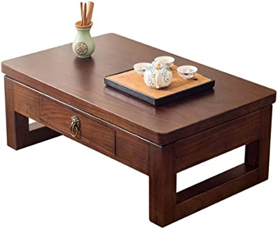 Tea Table Solid Wood Bay Window Table Tatami Coffee Table Simple Tea Table Balcony Drawer Table Japanese Style Low Table Tables (Color : Brown, Size : 80 * 50 * 30cm)