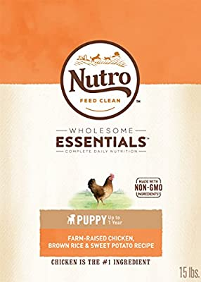NUTRO WHOLESOME ESSENTIALS Natural Dry Dog Puppy Food Farm-Raised Chicken, Brown Rice & Sweet Potato Recipe, 15 lb. Bag by Nutro