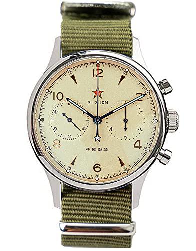 SEA-Gull 1962 (nueva gaviota 1963) 40MM zafiro luminoso cristal genuino banda de nylon ST1901 movimiento hombres piloto cronógrafo reloj SU1962G40