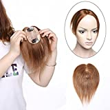 SEGO Hair Topper Donna Capelli Umani Parrucca #6 Marrone Chiaro - 10' 25cm Extension Clip Capelli Veri Lisci Castani Remy Indian Human Hair Wig Lace Silk Base 6cm x 9cm 110% Density 20g