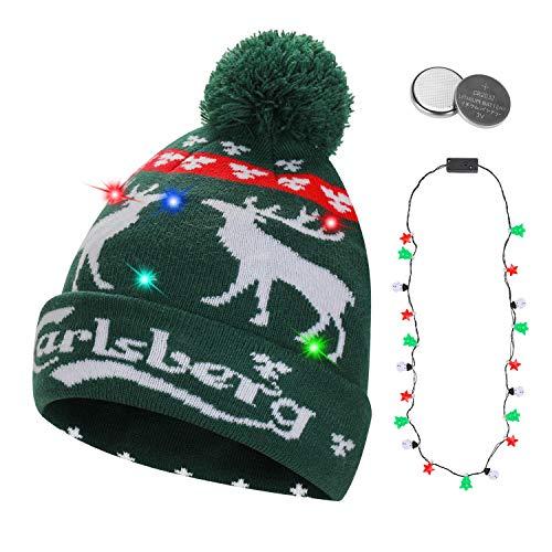QKURT Gorro Unisex con luz LED, Colorido Gorro de Navidad de Navidad para Fiestas navideñas Fiestas de...