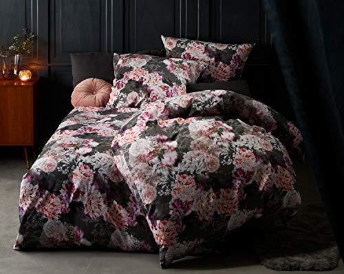 Bettwaesche-mit-Stil Moderne Blumen Mako Satin Bettwäsche anthrazit rosé - Kissenbezug 40x40 cm - 100% Baumwolle