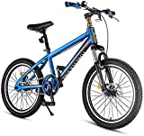 N&I Kids Mountain Bikes High-Carbon Steel Hardtail Anti-Slip Bike Dual Disc Brake Mountain Trail Bike Boys Girls Alpine Bicycle for Sports Outdoor Cycling Travel Work Out and Commuting