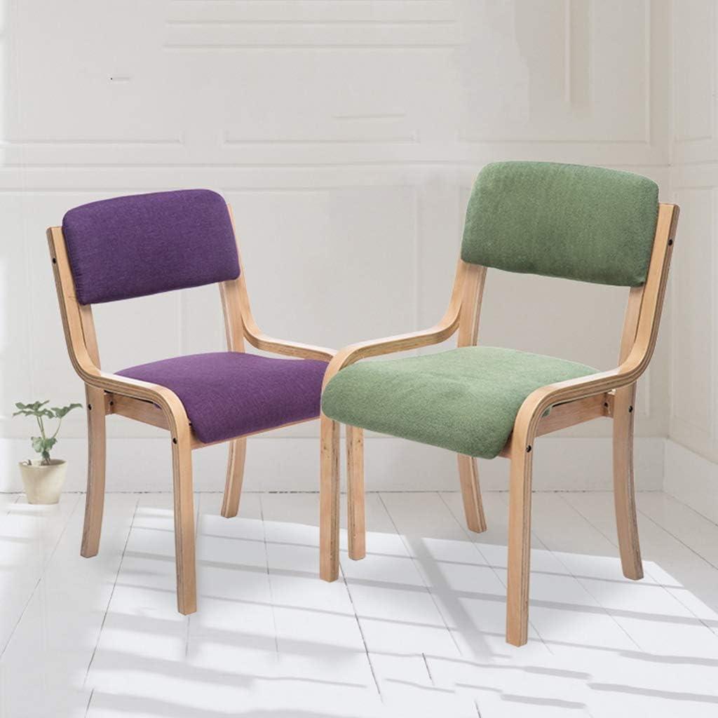 ACZZ Sedie Sedia per sala da pranzo in legno massello, Sedia da salotto in cucina, Lino in cotone traspirante, per bancone da ufficio,Rosso Linea 3 Verde