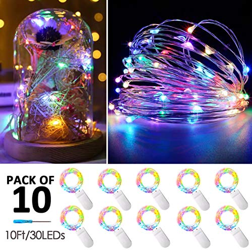 10 Pack Fairy Lights Battery Operated String Lights with 30 Micro LEDs on 10feet/3m Silver Copper Wire Starry String Light for DIY Party Christmas Costume Wedding Easter Table Decor(Colorful-Steady)