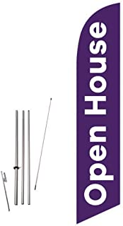 Cobb Promo Open House (Purple) Feather Flag with Complete 15ft Pole kit and Ground Spike