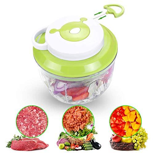 GLXLSBZ Hachoir à légumes manuel, coupe-légumes, 1000 ml, viandes végétales, hachoirs pour aliments, puissant manuel à main Speedy Chopper Blender Mixe, Bleu