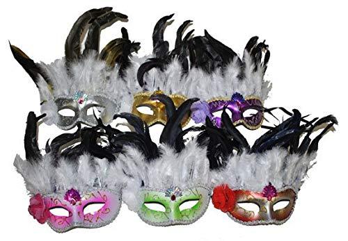 Funny Fashion Masque en Plastique pailleté avec Plumes et Fleur