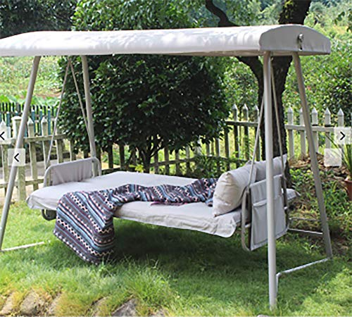 Kinberry Swing Chair 3 Seater Outdoor, Thick Padded Seat Bench Bed Seat Hammock with Top Roof, Waterproof Sunproof Metal Seat with Stand, Garden Furniture, Bedroom