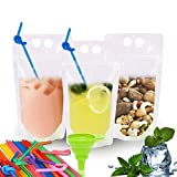 EXSPORT 100PCS Drink Pouches with Straws Hole Smoothie Bags Juice Pouches with 100 Drink Straws, Heavy Duty Hand-Held Translucent Reclosable Reusable Ice Drink Pouches Bag for Kids Adults