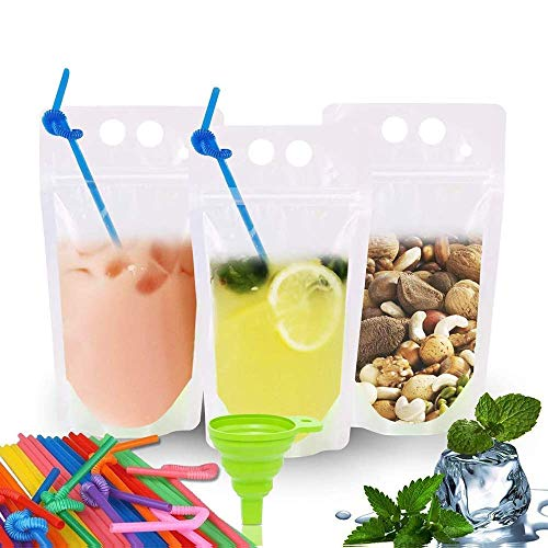 EXSPORT Upgraded 100 Pack Clear Drink Pouches Bags Food Storage Bags Reusable Snack Bags with 100 Drink Straws ( No Logo