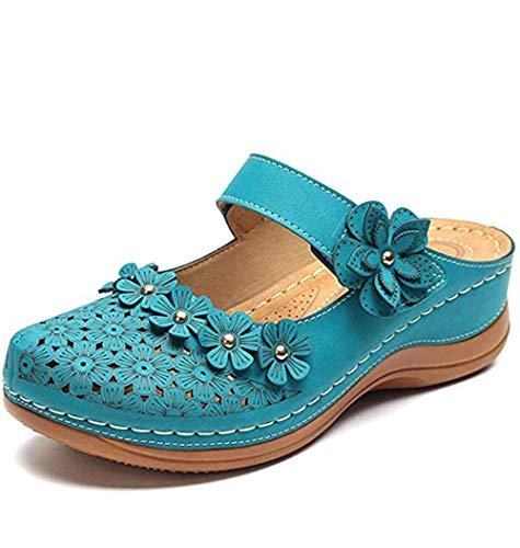 JFFFFWI Sandalias cómodas de cuña para Mujer Zuecos de Mula para Mujer Zapatillas Plataforma con Tiras Vintage Punta Cerrada Verano Al Aire Libre Jardín Sin Espalda Zapatillas para Caminar Vacacione