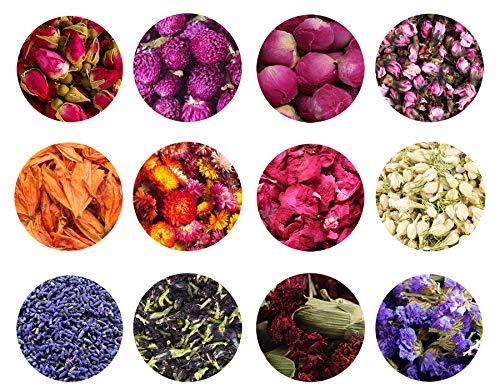 TooGet Trockene Blumen und Kräuter Zubehör Dekorationen Natürliche Blume 12 Taschen Set Getrocknete Blumen für Badebomben Kerzenherstellung und Trockenblumen Handwerk