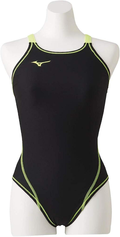 MIZUNO (Mizuno) Swimsuit Training for Ladies Exar Suit Medium Cut N2MA826070 Size  L Black × Safety Yellow N2MA8260 70  Black × Safety Yellow L