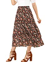 Allegra K Women's Floral Long Skirts Elastic Waist Tiered Ruffle Boho Maxi Skirt X-Large Black Red