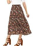 Allegra K Women's Floral Elastic Waist Tiered A-Line Long Chiffon Skirt Medium Black Red