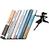 Artori Design Book Ends - Black Metal Superhero Bookend - Unique Gifts for Women - Cool Heroine Book Stopper - Book Holder for Girls - Feminist Gift - Supergal Book End - Metal Decor for Book Lovers
