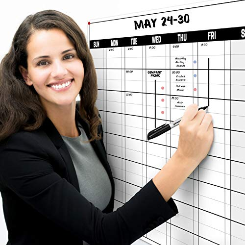 Dunwell 18x27 Dry Erase Wall Planner (Undated), Includes Extra 2020 Wall Calendar, 1 Reversible Undated Monthly Weekly Planner, Plus 2020 Wall Calendar, Laminated Erasable Paper Calendar