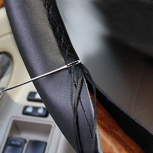 TEKSHOPPING Coprivolante Simil Pelle Universale con Ago e Filo da Cucire in per Volante Auto - Colore Nero Trama Pelle (Pelle Liscia 2)