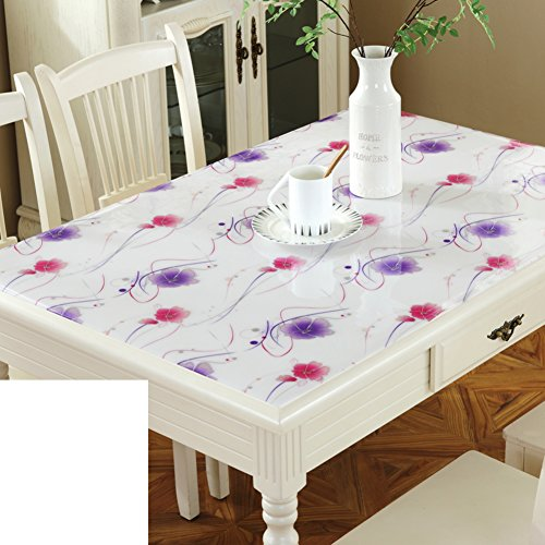 XKQWAN Nappe en plastique Imperméable Burn-proof Tapis de table transparente épaissir Nappe de coussin de cristal de verre mou-L 80x120cm(31x47inch)