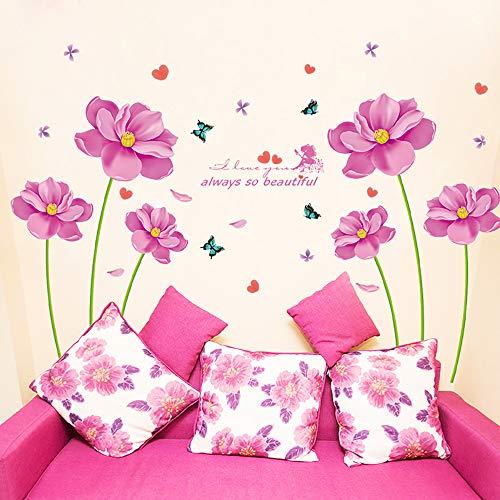 Amovible Fleurs Rose Belle Stickers Muraux Bricolage Fleur Art Papillon Stickers muraux pour Home Living Filles Chambre Salle de Bain Salle Nursery, 102x59 Pouces