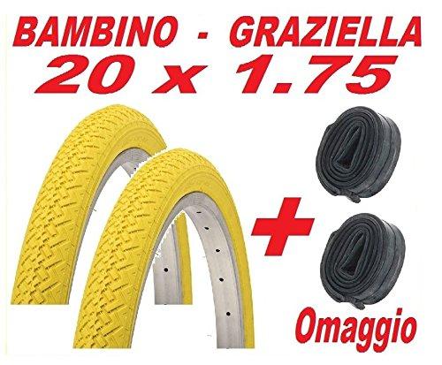 CicloSportMarket 2 x Copertone 20 X 1.75 Giallo Bicicletta GRAZIELLA/Bambino + 2 x Camera d'Aria Omaggio