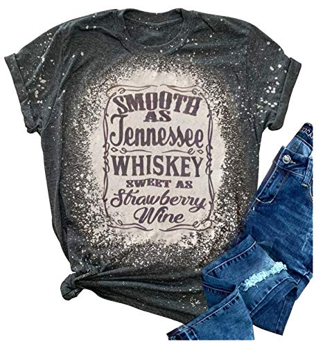 Smooth as Tennessee Whiskey Sweet as Strawberry Wine Shirt Women Country Music Tee Letter Print Drinking T-Shirt (Grey 1, XL)