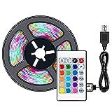Tira de luces LED de 5 m (16,4 pies) impermeable NIAGUOJI con USB alimentado por USB, tira de LED RGB con mando a distancia de 24 teclas, 16 colores para iluminación de fondo de TV, cinta de luz