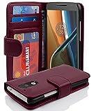 Cadorabo Funda Libro para Motorola Moto G4 / G4 Plus en Burdeos Violeta - Cubierta Proteccíon con Cierre Magnético e 3 Tarjeteros - Etui Case Cover Carcasa