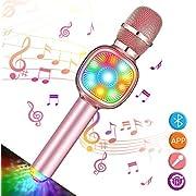 Tragbares drahtloses Karaoke Mikrofon, NASUM, bluetooth Mikrofon mit LED Laternenpfahl, wunderschön Beleuchtung und Lautsprecher, kompatibel mit Android, IOS, PC oder Alle Smartphone