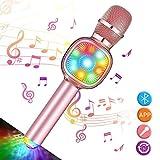 NASUM Microfono Karaoke Bluetooth Wireless con luci a LED,Microfono professionale per appa...
