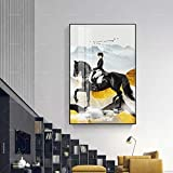 KWzEQ Imprimir en Lienzo Cartel Moderno de Caballos HD Moderno y decoración para Arte de pared70x95cmPintura sin Marco