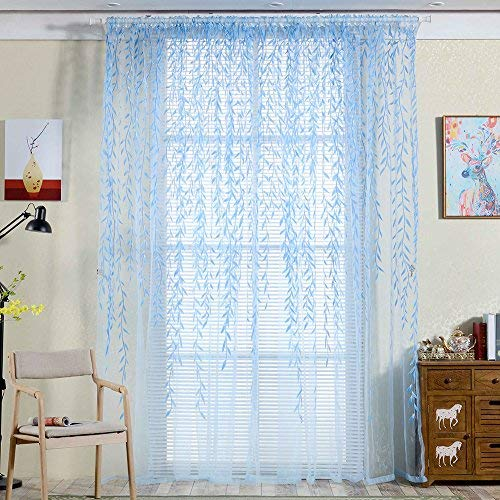 "Norbi Willow Voile Tulle Room Window Curtain Sheer Voile Panel Drapes Curtain 39.4'' x 78.8"" L (Blue Willow 39.4'' x 78.8"")"
