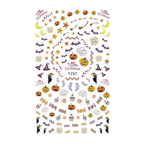 Nagel decoratie stickers, 10 soorten halloween rij schedel patroon kunst zelfklevende manicure stickers (f257)