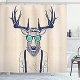 ABAKUHAUS Geweih Duschvorhang, Hipster Cooles Spaß-Tier, mit 12 Ringe Set Wasserdicht Stielvoll Modern Farbfest & Schimmel Resistent, 175x240 cm, Beige Schwarz