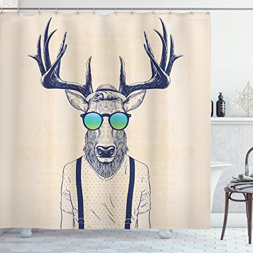Ambesonne Antlers Shower Curtain, Illustration of Deer Dressed up Like Cool Hipster Fashion Creative Fun Animal, Cloth Fabric Bathroom Decor Set with Hooks, 84' Long Extra, Beige Black
