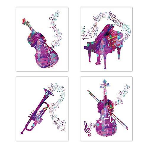 UKART 4er-Set – Aquarell-Musikinstrumente Wand-Kunstdruck – (Klavier, Violine, Saxophon, Gitarre, Musiknoten) – ideal für Musikunterricht, Wohnzimmer, Heimdekoration (ungerahmt, 20,3 x 25,4 cm)